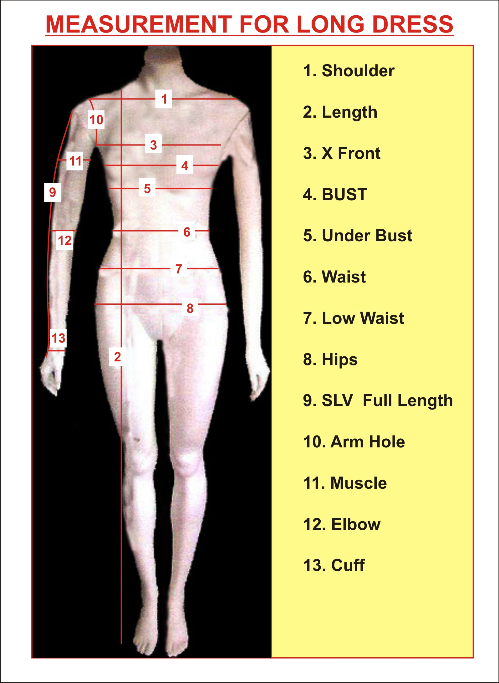 Measurement Chart For Women S Tailoring Instruction For