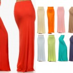 FOLD OVER WAIST LONG FULL LENGTH JERSEY MAXI SKIRT STRETCH KNIT