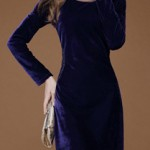 Royal Blue Lady Velvet Dress Custom Made