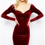 Designer Red Velvet Dress Custom made