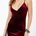 Champagne Red Velvet Dress