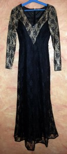 Black Lace Evening Dress - Front