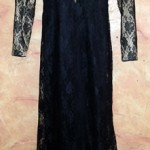 Nude Lace with Black Flower - Evening Party Dress