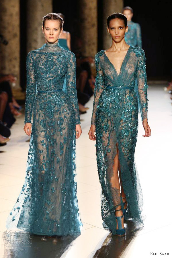 elie-saab-fall-2012-2013-couture-long-sleeve-dress-blue-green-teal ...