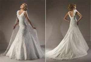 CD-3399 Floor Length Long Veil Corset Back Chapel Train Handmade Flowers A-line V-neck Lace Wedding Dress