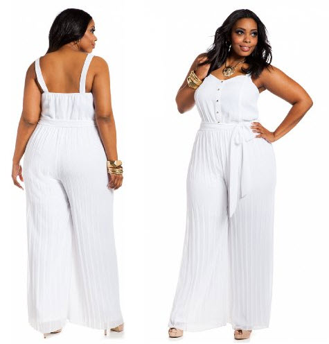 White Jumpsuits For Women Plus Size Runway Fashion Tailor Made