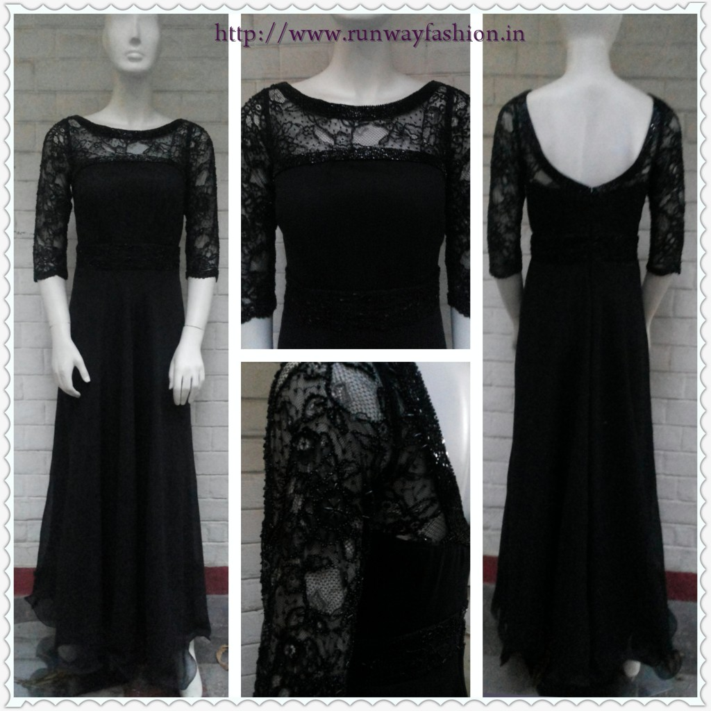Black Evening Sequin Gown - Made To Measure