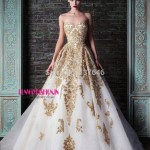 Bridal White Gold Embellished Gown